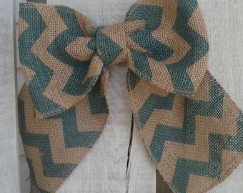 Aqua and Tan Chevron Burlap Bow, Fall/Winter Bow Decor, Spring/Summer Bow Decor, Wreath Add On, Rustic Wedding Bow, Holiday Bow