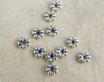 50 beads 6mm x 2mm silver plated flower dark A22024