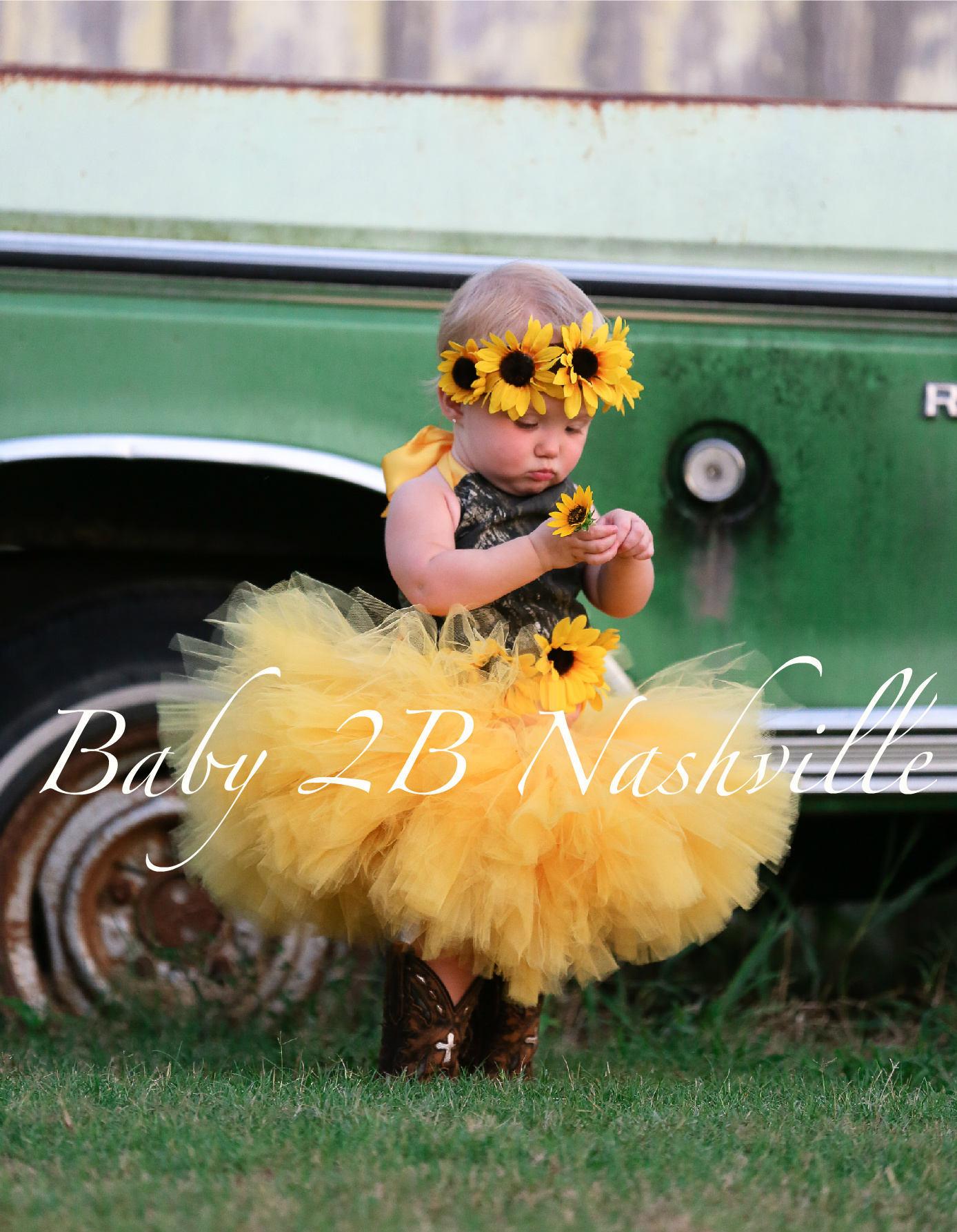 Camo dress yellow sunflower dress flower girl dress wedding dress camo dress yellow sunflower dress flower girl dress wedding dress mossy oak tutu dress baby dress toddler dress tulle dress girls dress mightylinksfo