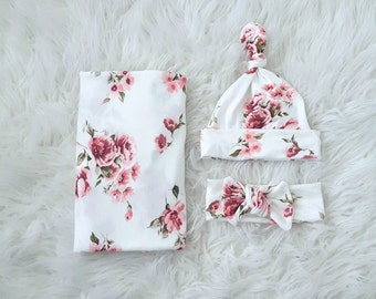 """Baby swaddle set """"Olivia"""" in Ivory white and Pink Floral, Luxury Collection,  headband, photo prop, hospital set,  gift, stretchy swaddle"""