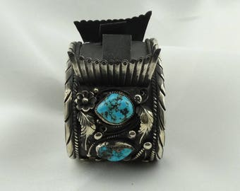 Collectable Hallmarked Turquoise Heavy Sterling Silver Watch Cuff Bracelet Southwest Native American #HALLMARKED-ELP3