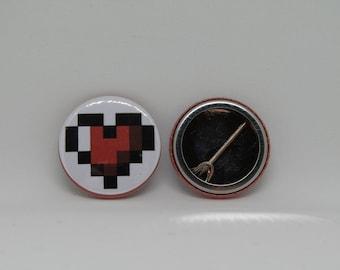 Pixel Heart Badge || Geek Lapel Pin || Game/Gamer Bag Accessory || Metal Badge