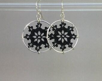 Nautical doily earrings, black silk thread, sterling silver