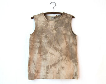 Landslide Top — vintage naturally dyed top / brown cotton sleeveless shirt / unique handmade top / boho tie-dye tank top / plant-dyed shirt