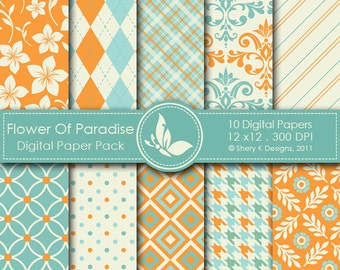Flower Of Paradise Paper Pack - 10 Printable Digital scrapbooking papers - 12 x12 - 300 DPI
