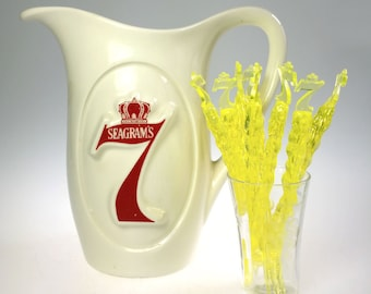 Seagrams 7 Crown Whiskey Ceramic Bar Pitcher w 8 Swizzle Stir Stick