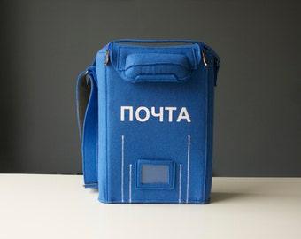 PO Box Bag Postman Blue Felt Purse