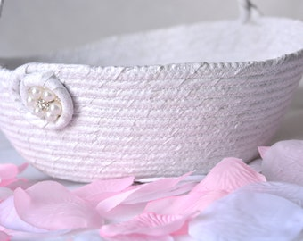 Flower Girl Basket, Handmade White Wedding Basket with Pearl Florette, Lovely White Glitter Basket, White Card Holder