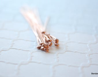 Copper Headpins , 20 Handmade Headpins ,  Hammered Headpins , 24 gauge