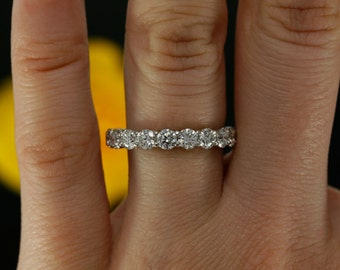 3mm Eternity Forever Brilliant Moissanite Wedding Band, Matching Band in 14k White Gold (available in rose gold, yellow gold and platinum)