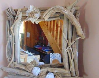 mirror, driftwood, burlap flowers