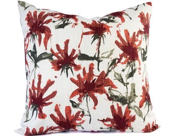 Two Red Pillow Covers - Floral Pillow Sham - Red Throw Pillow - Red Decorative Pillow - Brown Pillow Cover - Red and Brown Pillows