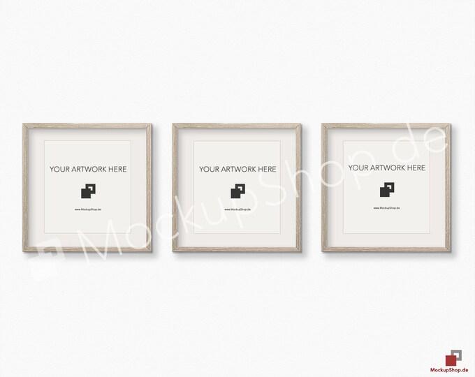 Set of 3 SQUARE MOCKUP FRAME on structure white wall, Frame Mockup, Amazing brown photo frame mockup, Digital Download Square Frame Mockup