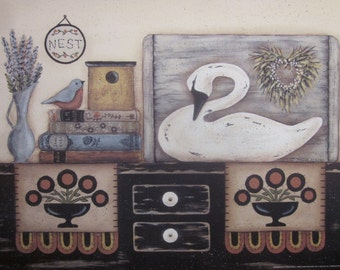 White Swan Still Life Print 12x16. Nest. Books. Penny rug. Alcott, Jane Eyre. Country cottage, farmouse, primitive folk art. Donna Atkins