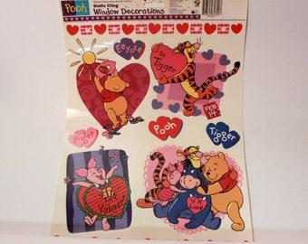 Vintage Winnie the Pooh Valentines Window Clings. 1 Sheet