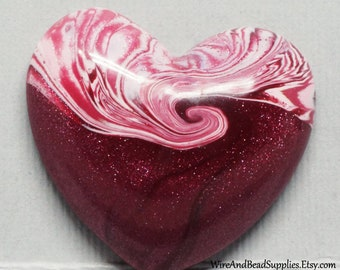 Strawberry Swirl Heart Polymer Clay Cabochon Pink and White