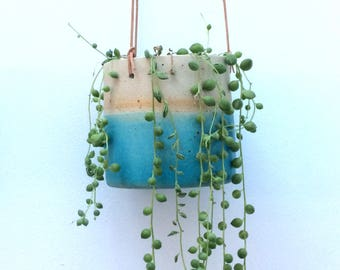 PRE-ORDER FOR 11th May shipping. Turquoise handmade ceramic hanging planter (medium)