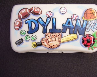Personalized Baby Wipes Travel Case  -Sports - Hand Painted