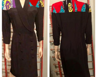 Awesome 80's John Roberts double breasted jacket dress / large / 13/14