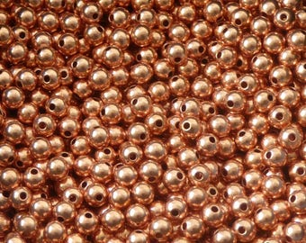 50 pcs - 4mm copper beads - genuine copper beads - 4mm beads - round seamless beads -pure copper findings