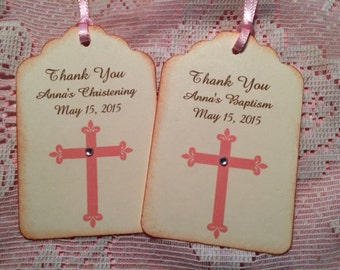 Baptism Favor Tags, Christening Favor Tags, Baptism Girl Favors, Christening Girl Favors, 30 Personalized Thank you Tags