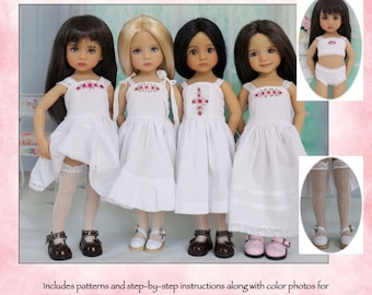 "PDF Pattern for Effner 13"" Little Darling, ""Little Darling Necessities""; 4 Dress Variations, Cropped Camisole, Panties & Thigh-Highs"