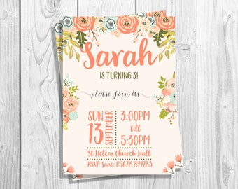 Printable Birthday Party Invitations, Floral, Autumn Floral, Printable Invitation DIGITAL DOWNLOAD