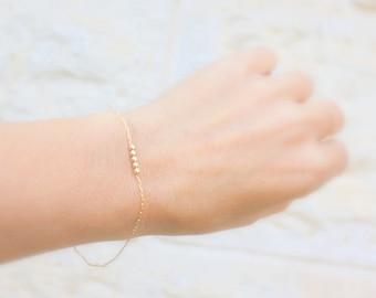 Dainty Gold Filled Beaded Bracelet- Chain Bracelet - Silver Chain Bracelet, Stranded Bracelet, Thin Silver Bracelet, Layering Bracelet