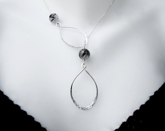 Silver Lariat Necklace Sterling Silver Necklace Sterling Silver Jewelry Rutilated Quartz Lariat Gold Filled Necklace Necklace For Her