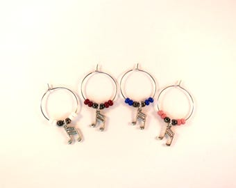 Musical Note Wine Charms / Drink Markers / Wine Glass Jewelry / Music Inspired / Hostess Add-On Gift / Beaded Charms / Bar Accessories / Fun