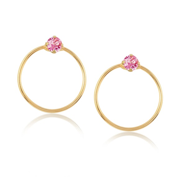 Crystal Stud Hoop Earrings (Mini) in Light Rose