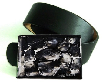 Large Metal Belt Buckle Black and White Metal Buckle Hand Painted Quartz Inspired for Snap Belts Custom Colors Available