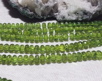 Natural Peridot Faceted Rondelle Beads 8mm 7 In. Green Gemstone, Rondelles, Natural Stone, Semi Precious, August Birthstone