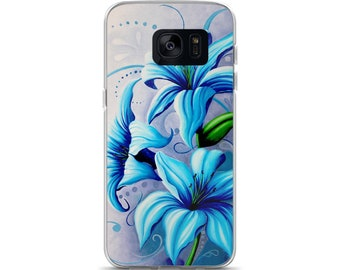 Samsung Galaxy Case phone blue lilies flower