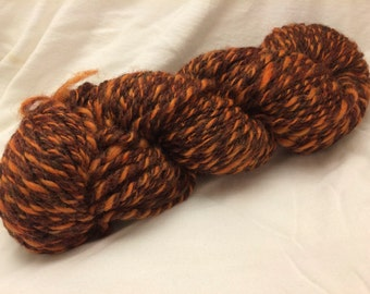Handspun Wool Yarn, 2-ply, Brown/Pumpkin, Heavy Worsted, Approx 100 Yards