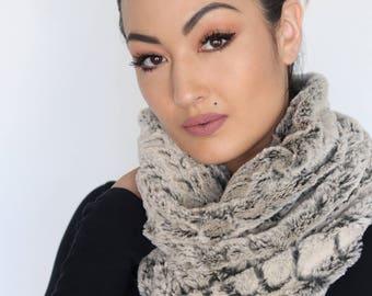 Faux Fur cowl neck scarf, grey scarf, soft faux fur scarf, gift, winter, fashion forward scarf, cowl scarf, unique scarf, gift for her