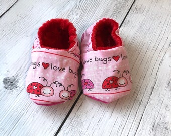 Valentine's Day Shoes, Hearts, Love, Baby, Infant Shoes, Gender Neutral, Booties, Crib Shoes, Love Bug