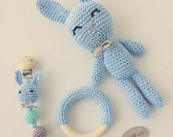 Baby Set Amigurumi, sleeping Bunny, teething ring and pacifier, handmade