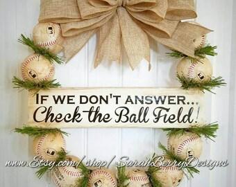 Baseball Wreath with burlap bow - Made with REAL baseballs!!! Softball and Baseball - Coach's Gifts - MLB - Baseball - Front Door Wreath