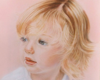 Custom Child portrait  painting  - Baby Portrait - Kids Family  Pastel Portrait from Photo
