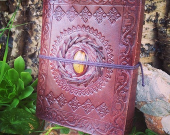 Leather Medieval Journal - Handmade Embossed Rustic Journal - Tiger Eye Leather Notebook - Leather Travel Book - Leather Blank Book