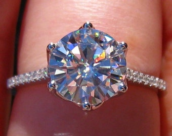 Forever One Moissanite Engagement Ring, White Gold LILY Solitaire Diamond Engagement Ring