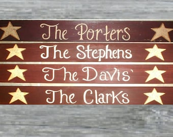 Hand painted wood family name,last name ,PERSONALIZED NAME SIGN with stars/hearts.Gifts