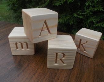 Wooden alphabet blocks, 26 English alphabet blocks, Baby shower blocks, Lettered blocks, ABC blocks, Wood letter cubes, Personalized blocks