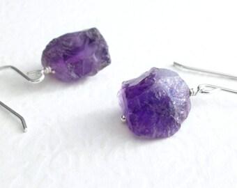 Rough Amethyst Earrings, Purple Crystal Jewelry, Raw Amethyst Dangle Earrings