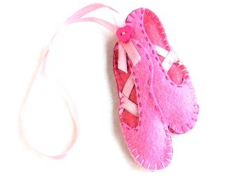 Ballet slippers  felt ornament, pink, ballerina shoes, girl, ballet dancer, Birthday gift, Cristmas ornament, Housewarming decor