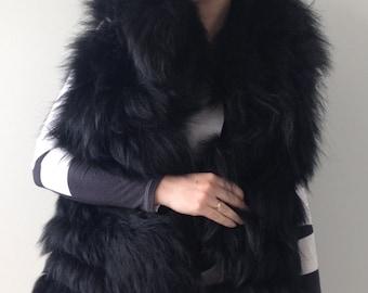 Vest  jacket coat fur arctic fox  Black