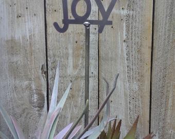 SHIP NOW - JOY - Garden Stake - Metal Garden Sign - 19 Inches Tall