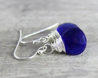 Royal Blue Earrings, Sterling Silver Earrings, Quartz Gemstone Earrings, Bright Blue Earrings, Wire Wrap Dangle Earrings, Small Drop