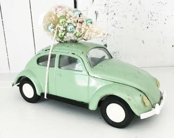 Vintage Volkswagen VW Bug Beetle Tonka 52680 Mint Green Car Toy with Bottle Brush Tree, Christmas Tree Car